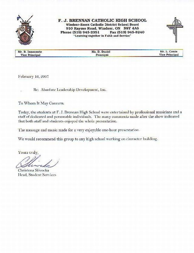 character reference letter student