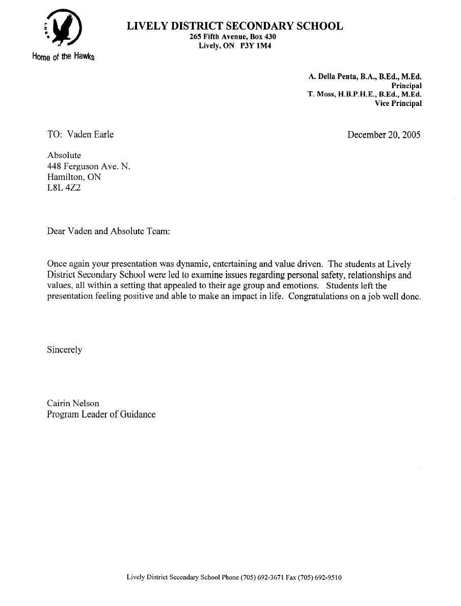 gallery for personal recommendation letter for school